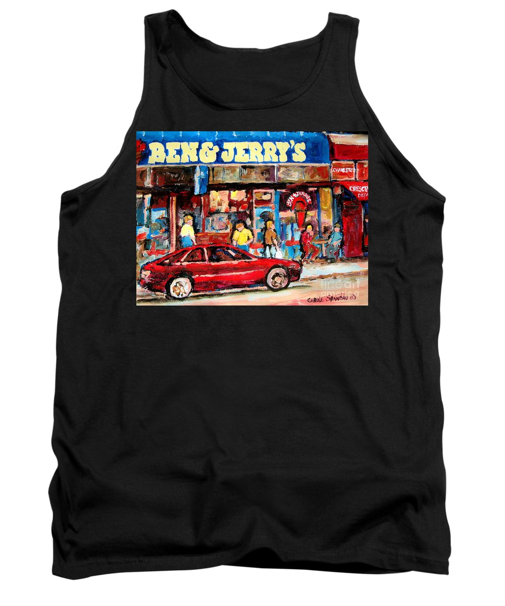 Cafescenes Tank Top featuring the painting Ben And Jerrys Ice Cream Parlor by Carole Spandau