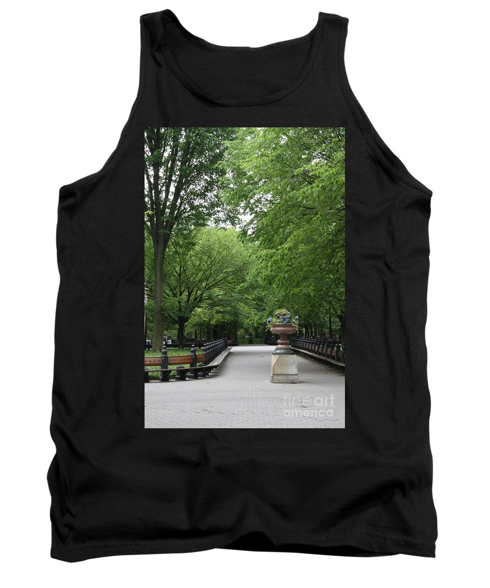 Park Tank Top featuring the photograph Bench Rows In Central Park Nyc by Christiane Schulze Art And Photography