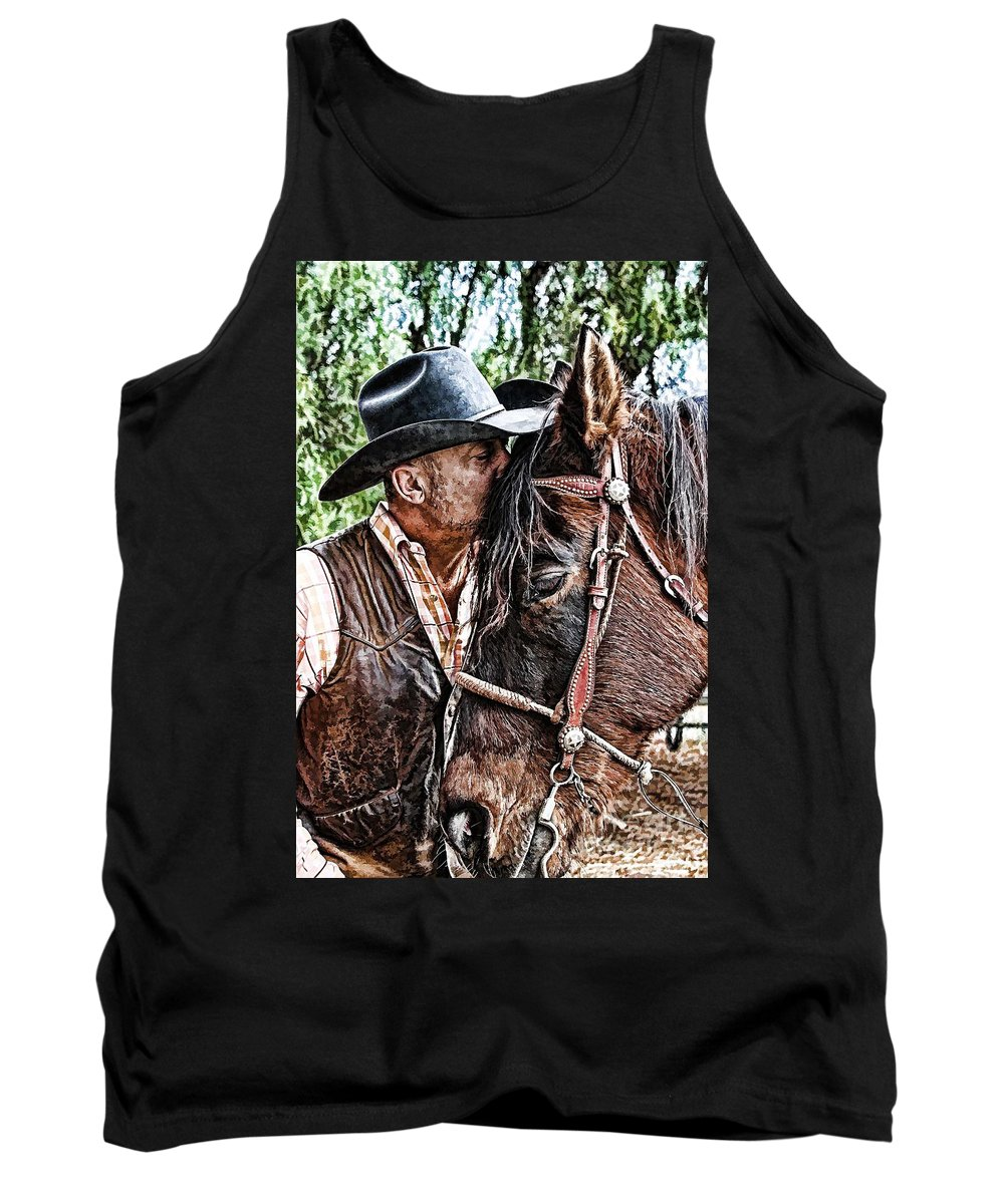 Cowboy Tank Top featuring the photograph Best Friends by Tommy Anderson