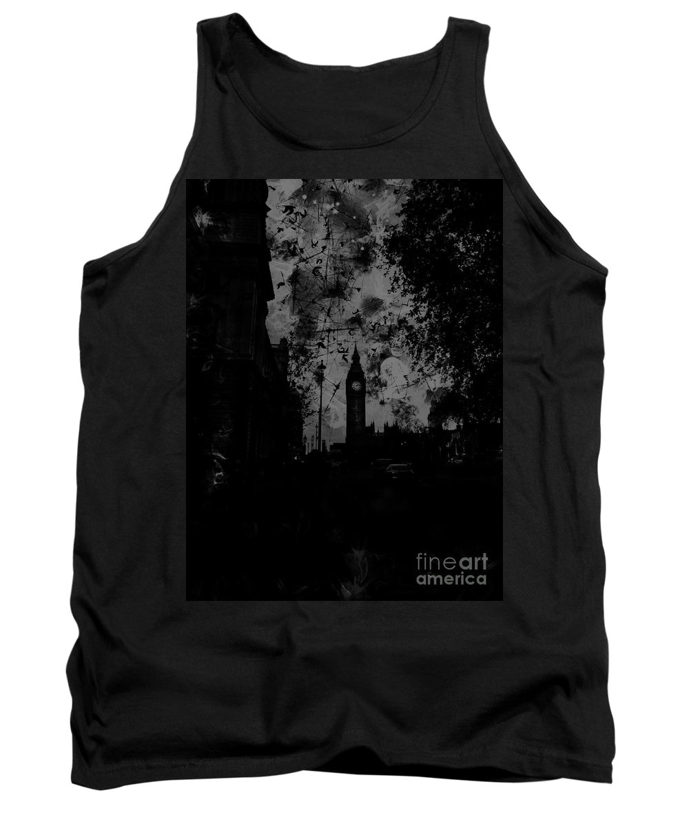 Big Ben Tank Top featuring the digital art Big Ben Street Black And White by Marina McLain