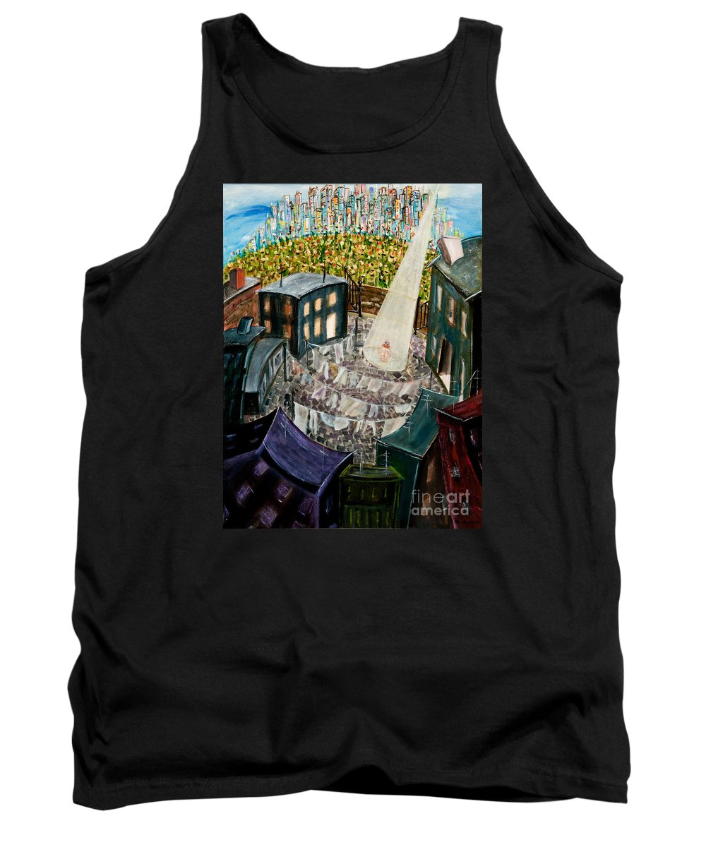 Story Telling Tank Top featuring the painting Bigger Than I by Olga Alexeeva