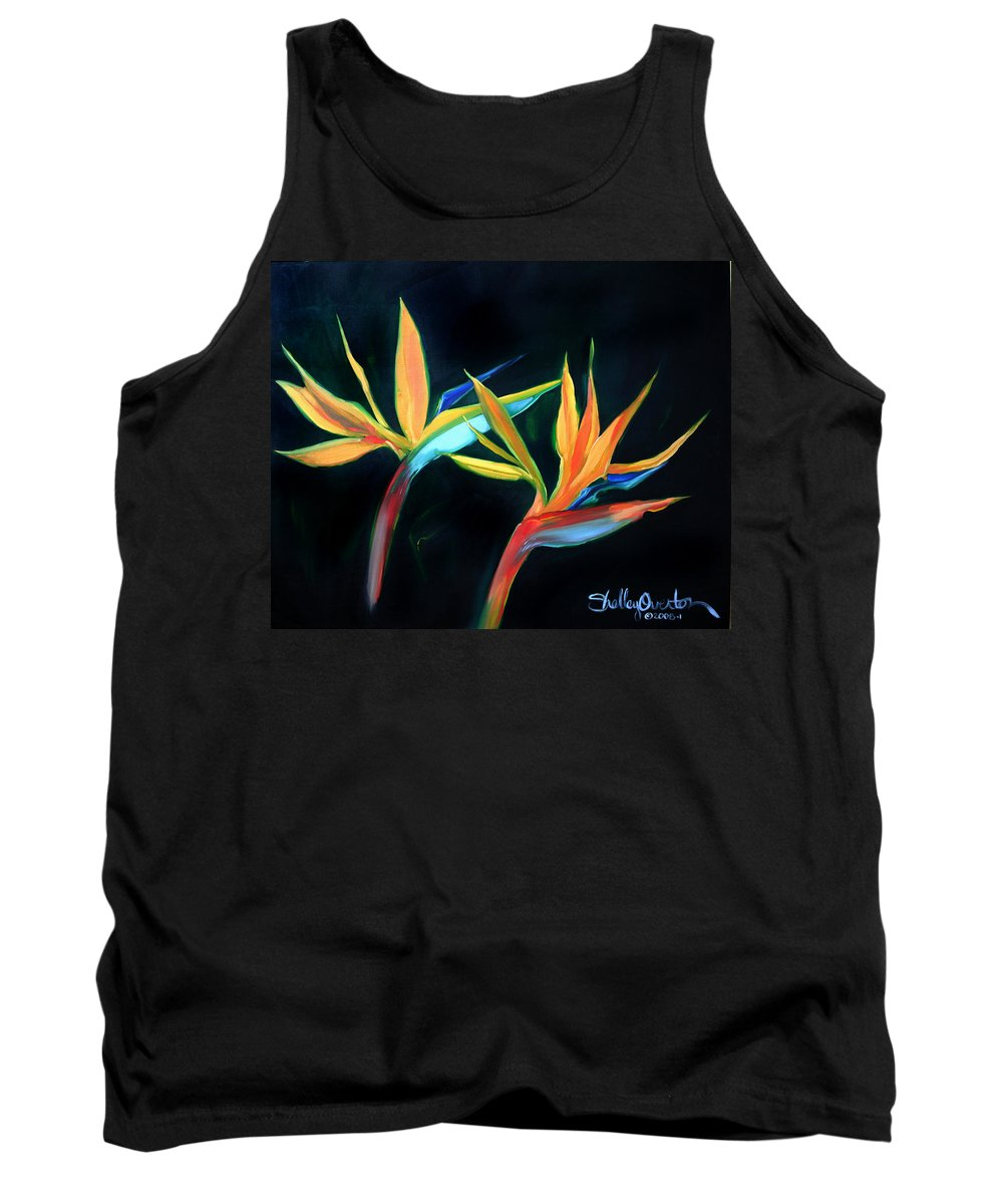 Birds Of Paradise Tank Top featuring the painting Birds Of Paradise by Shelley Overton