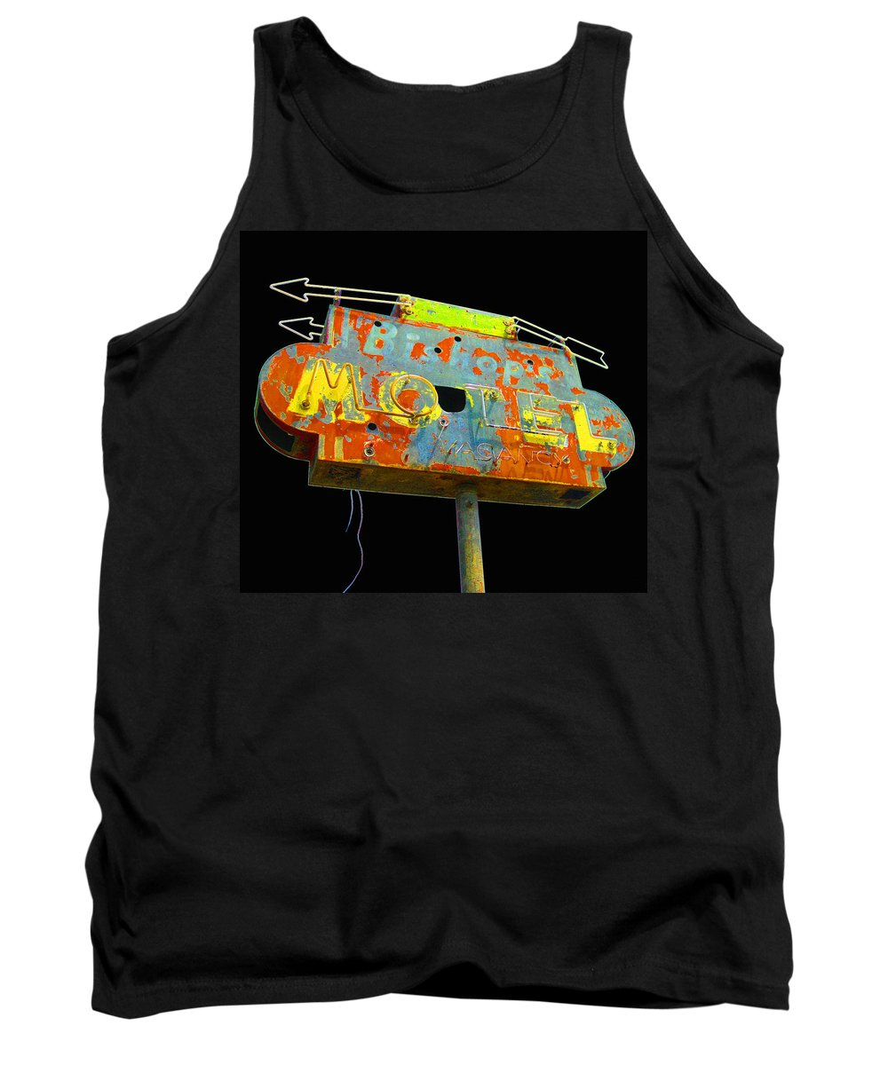 Mid Century Tank Top featuring the photograph Bishop's Motel - Black by Larry Hunter