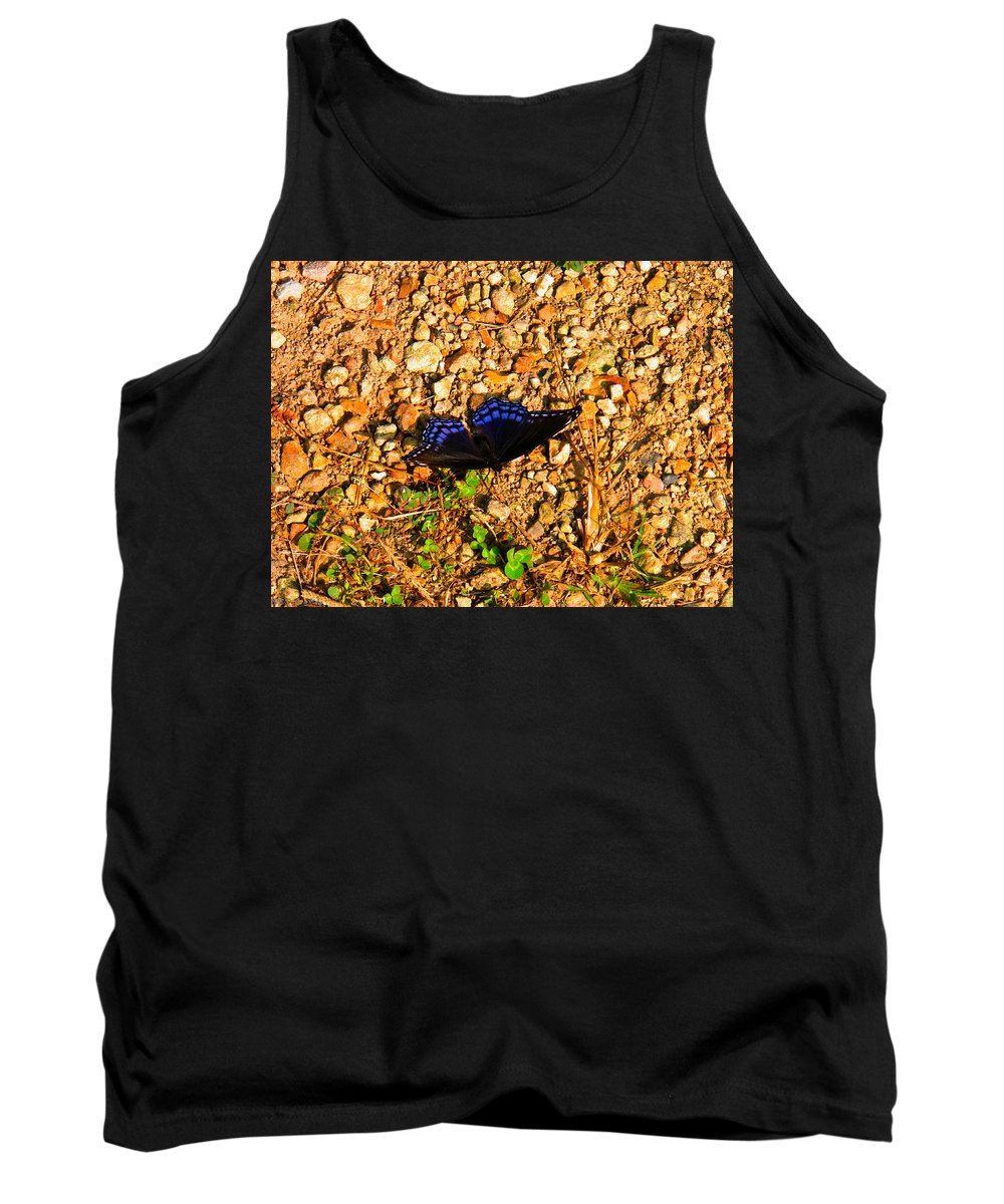 Butterfly Tank Top featuring the photograph Black And Blue 2 by Nick Kirby