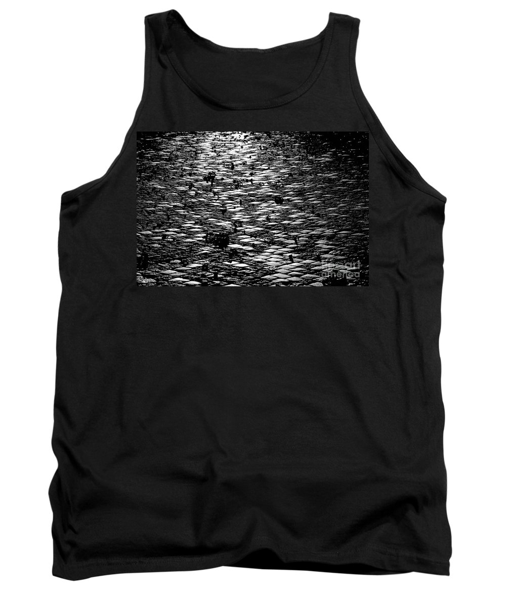 Street Tank Top featuring the photograph Black And White Cobblestone Pattern by Kerstin Ivarsson