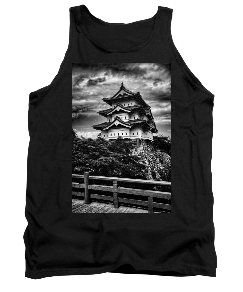 Pagoda Tank Top featuring the photograph Black And White Of Hirosaki Castle In Japan by David Smith