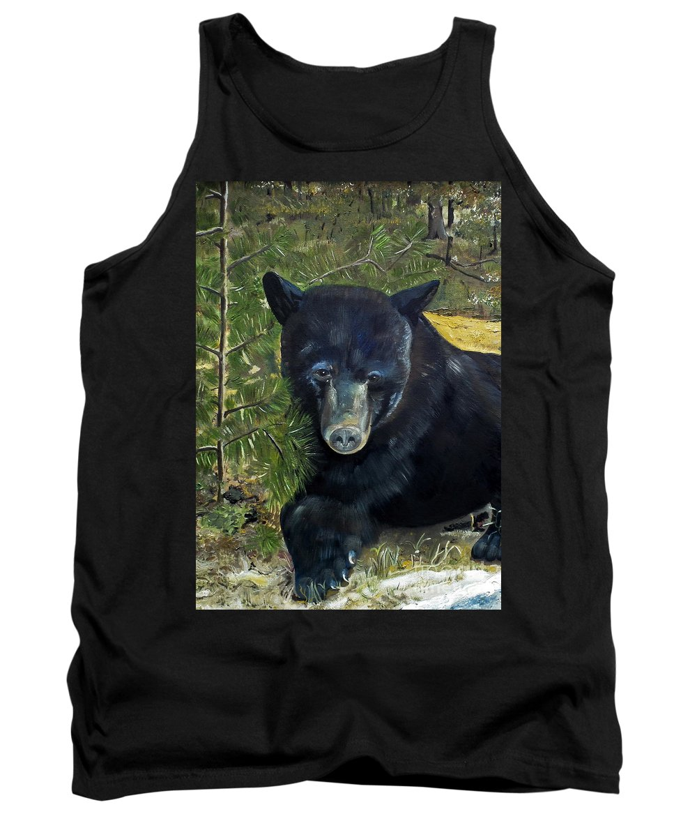 Black Bear Tank Top featuring the painting Bear Painting - Scruffy - Profile Cropped by Jan Dappen
