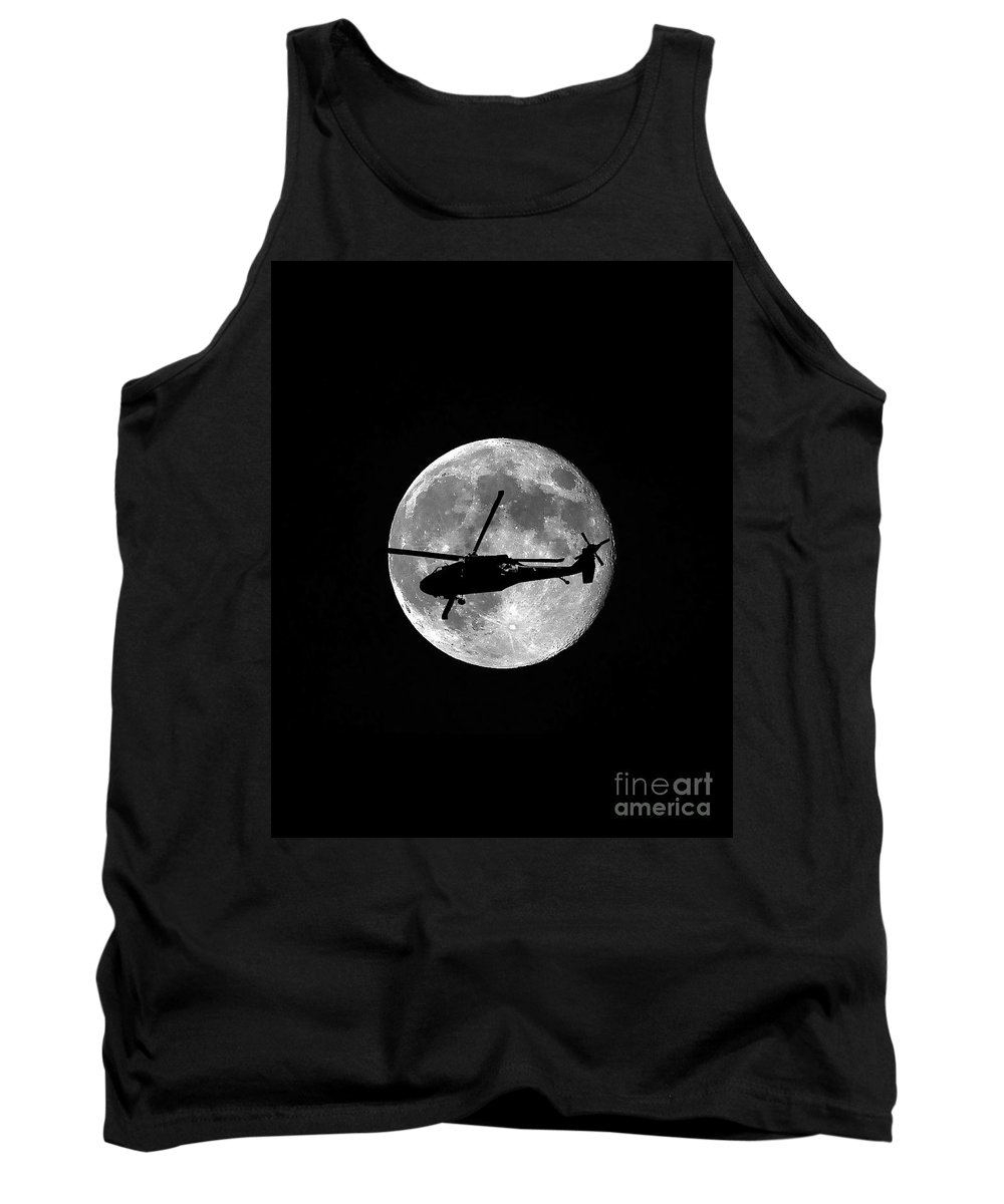 Aircraft Tank Top featuring the photograph Black Hawk Moon Vertical by Al Powell Photography USA