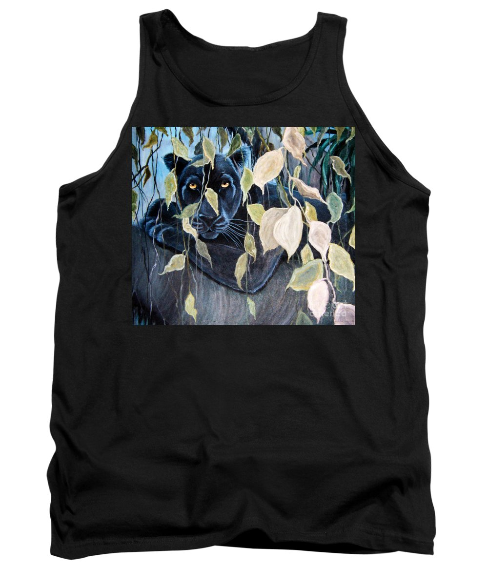 Black Panther Tank Top featuring the painting Black Panther 2 by Nick Gustafson