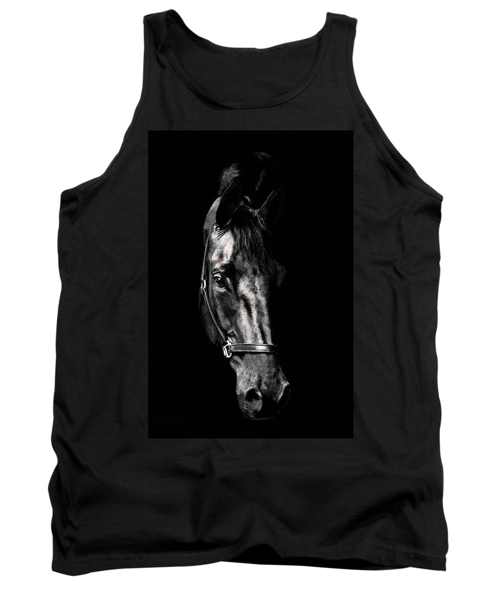 Horse Tank Top featuring the photograph Black Satin by Nadine Lewis