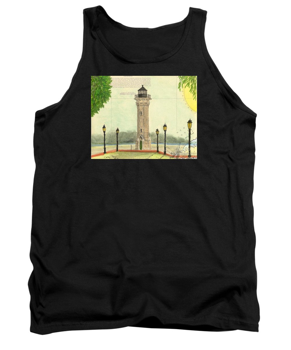 Blackwell Tank Top featuring the painting Blackwell Island Lighthouse Ny Chart Map Art by Cathy Peek