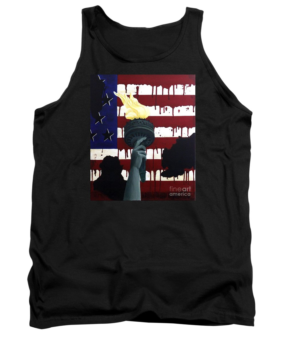 Military Painting Tank Top featuring the painting Bleeding For Freedom by D L Gerring