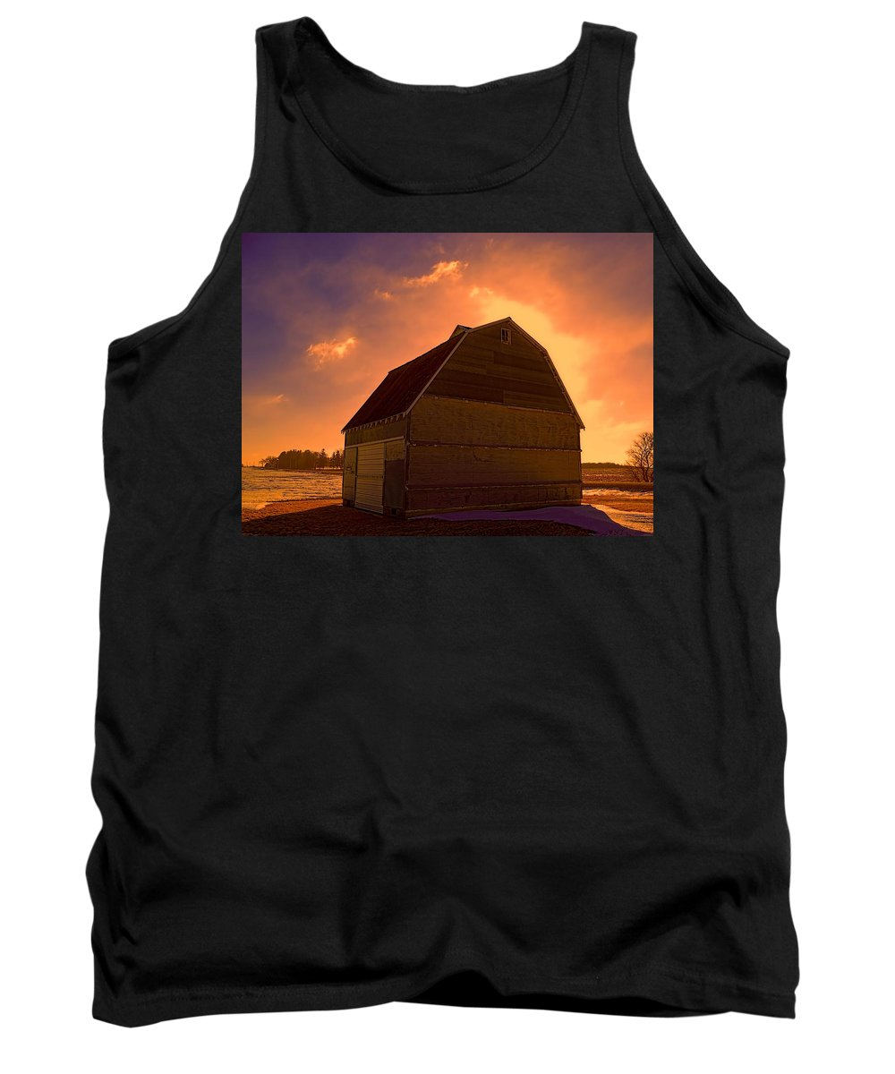 Corn Crib Tank Top featuring the photograph Blocked Sunrise by Bonfire Photography