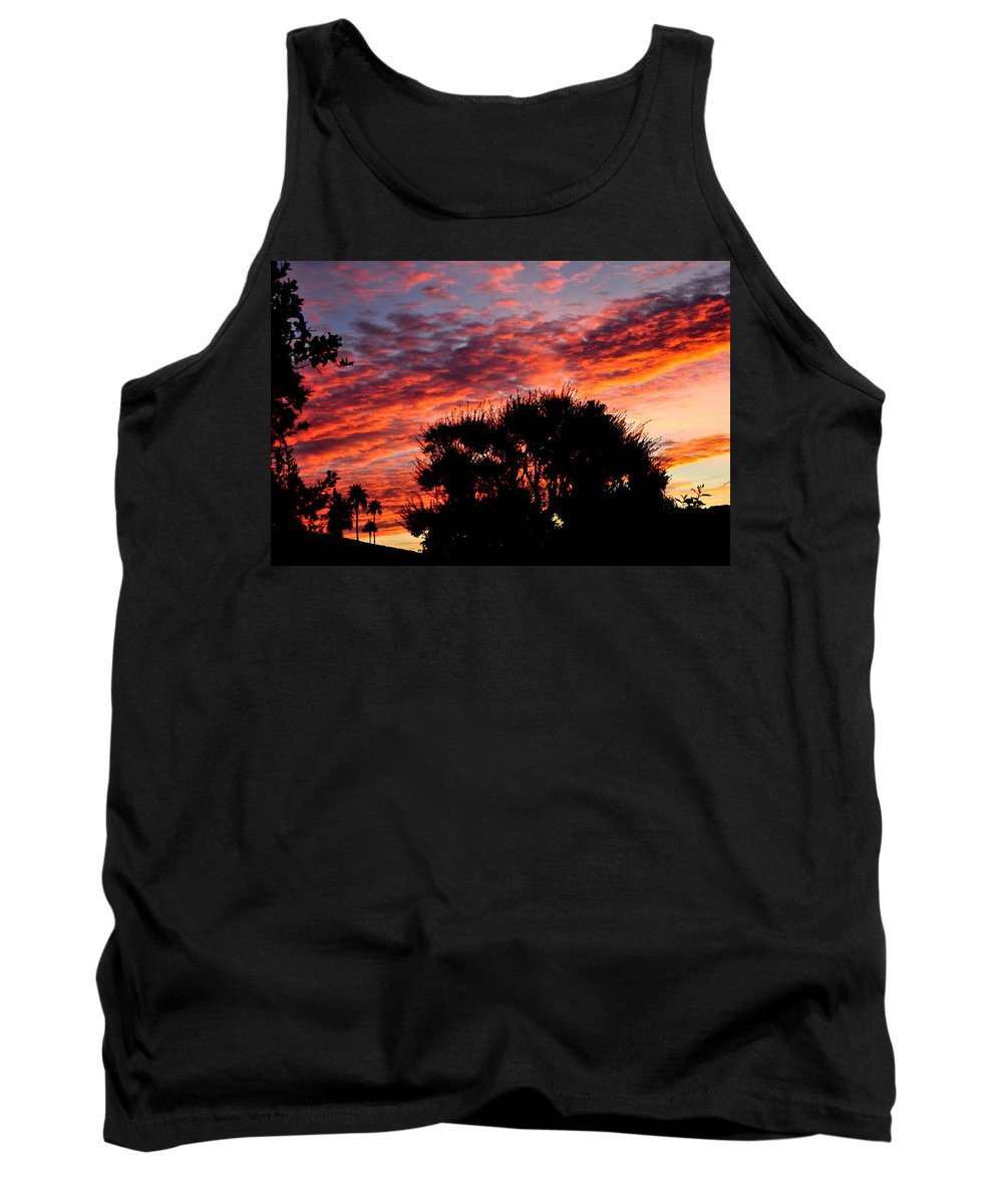 Red Tank Top featuring the photograph Bloody Sunset Over Palm Desert by Jay Milo
