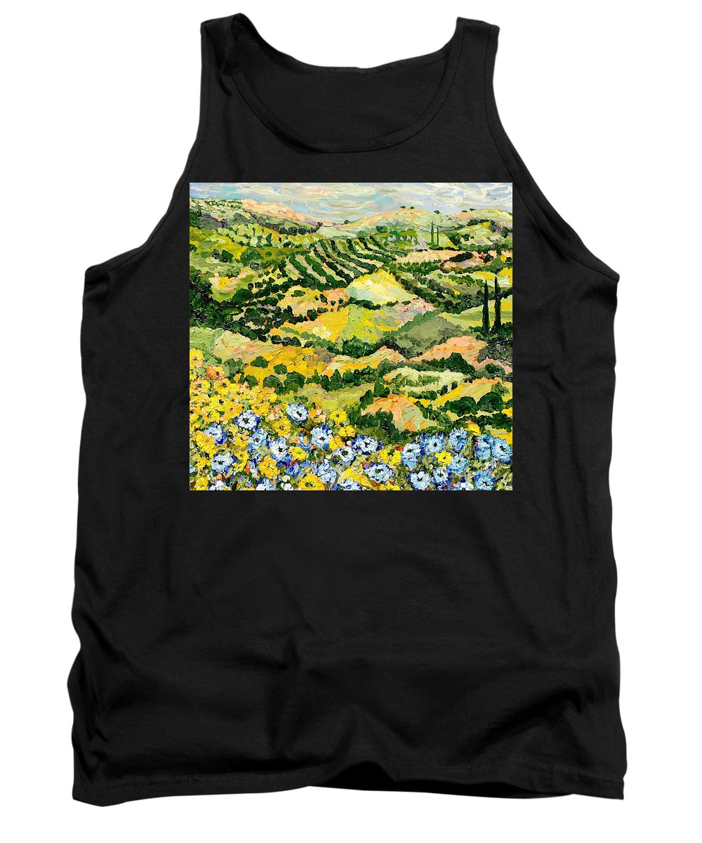 Landscape Tank Top featuring the painting Blue And Yellow by Allan P Friedlander
