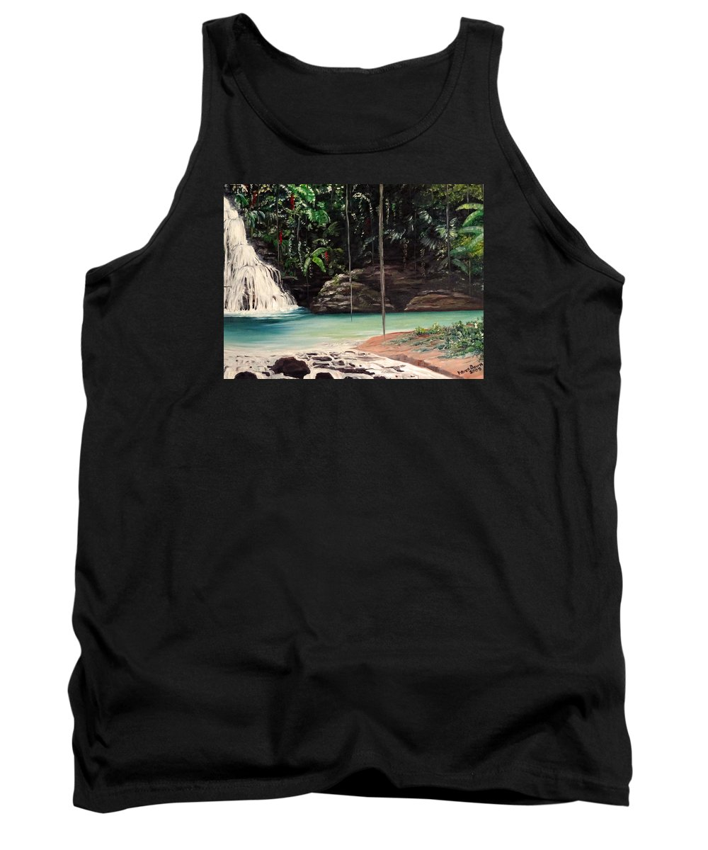 Tropical Waterfall Tank Top featuring the painting Blue Basin by Karin Dawn Kelshall- Best