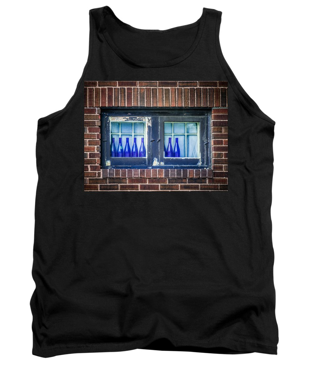 Bottles Tank Top featuring the photograph Blue Bottles In A Window by Paul Freidlund