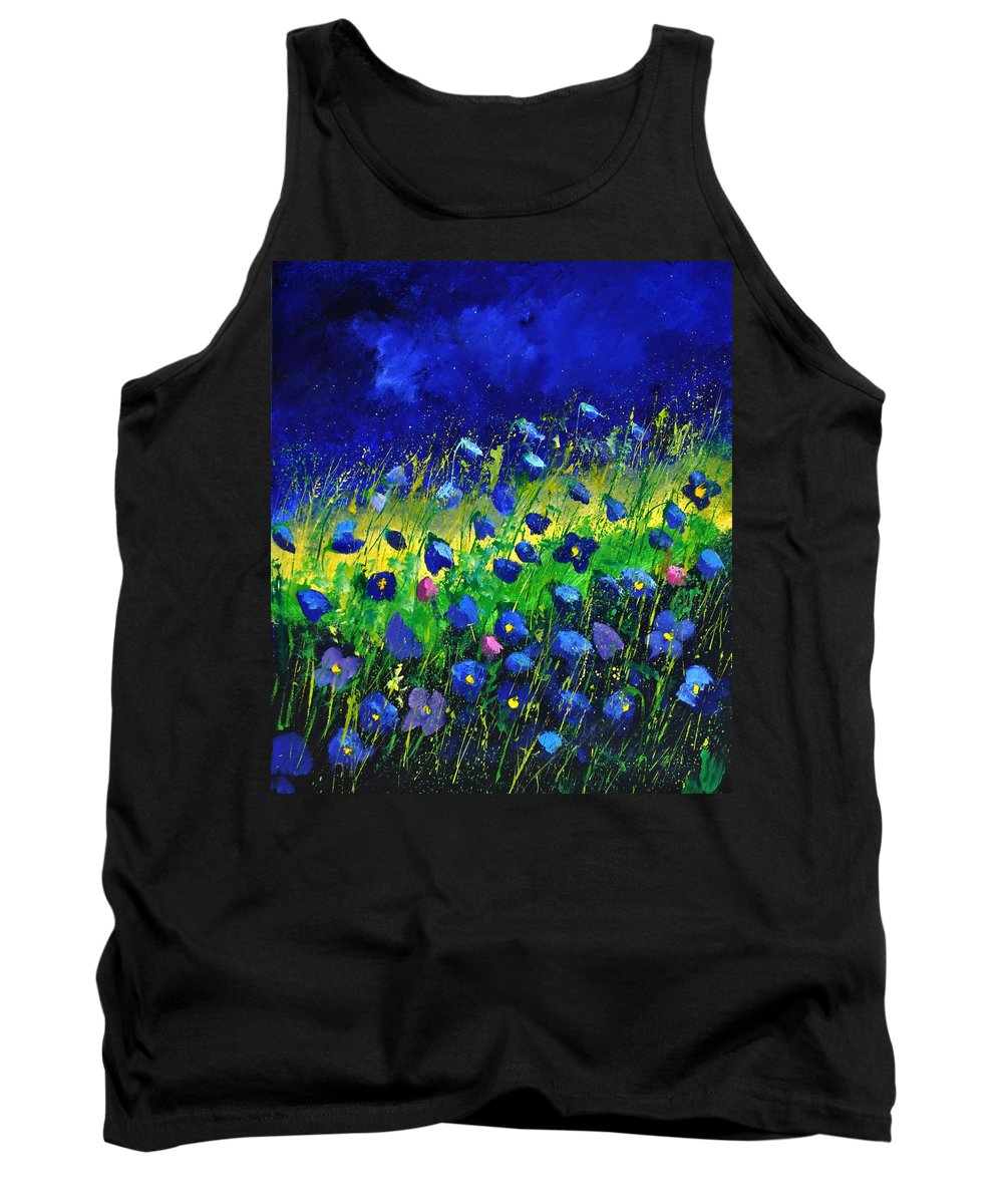 Landscape Tank Top featuring the painting Blue poppies 674190 by Pol Ledent