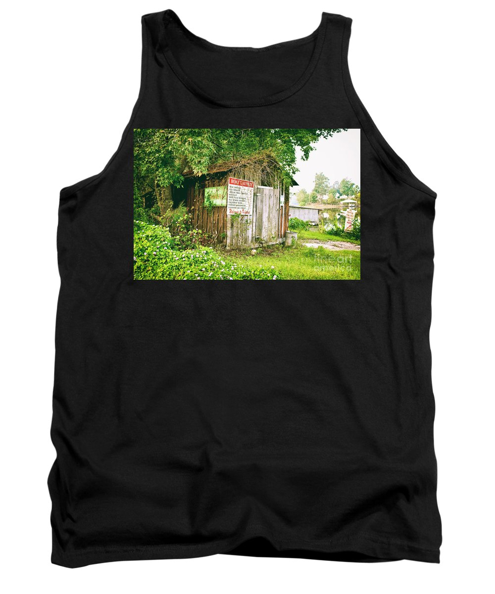 Outhouse Tank Top featuring the photograph Boat Launch Outhouse - Texture Bw by Scott Pellegrin