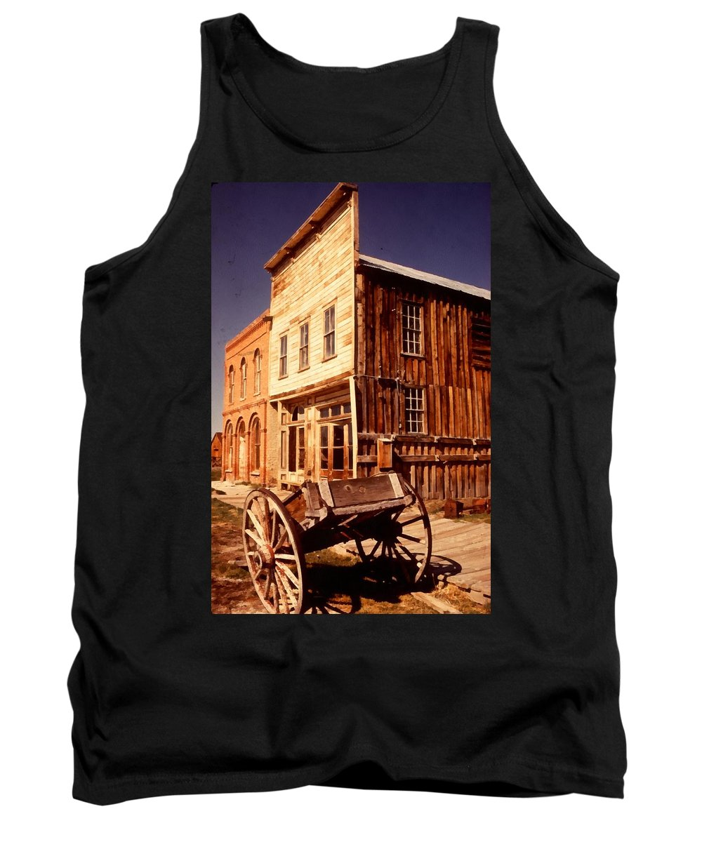 Ghost Town Bodie California Tank Top featuring the digital art Bodie Ghost Town Wagon by Dick Rowan