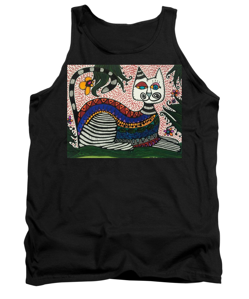 Whimsical Cat Tank Top featuring the painting Boho Cat And Flowers by Sandra Perez-Ramos