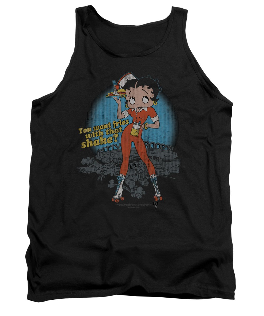 Betty Boop Tank Top featuring the digital art Boop - Fries With That by Brand A
