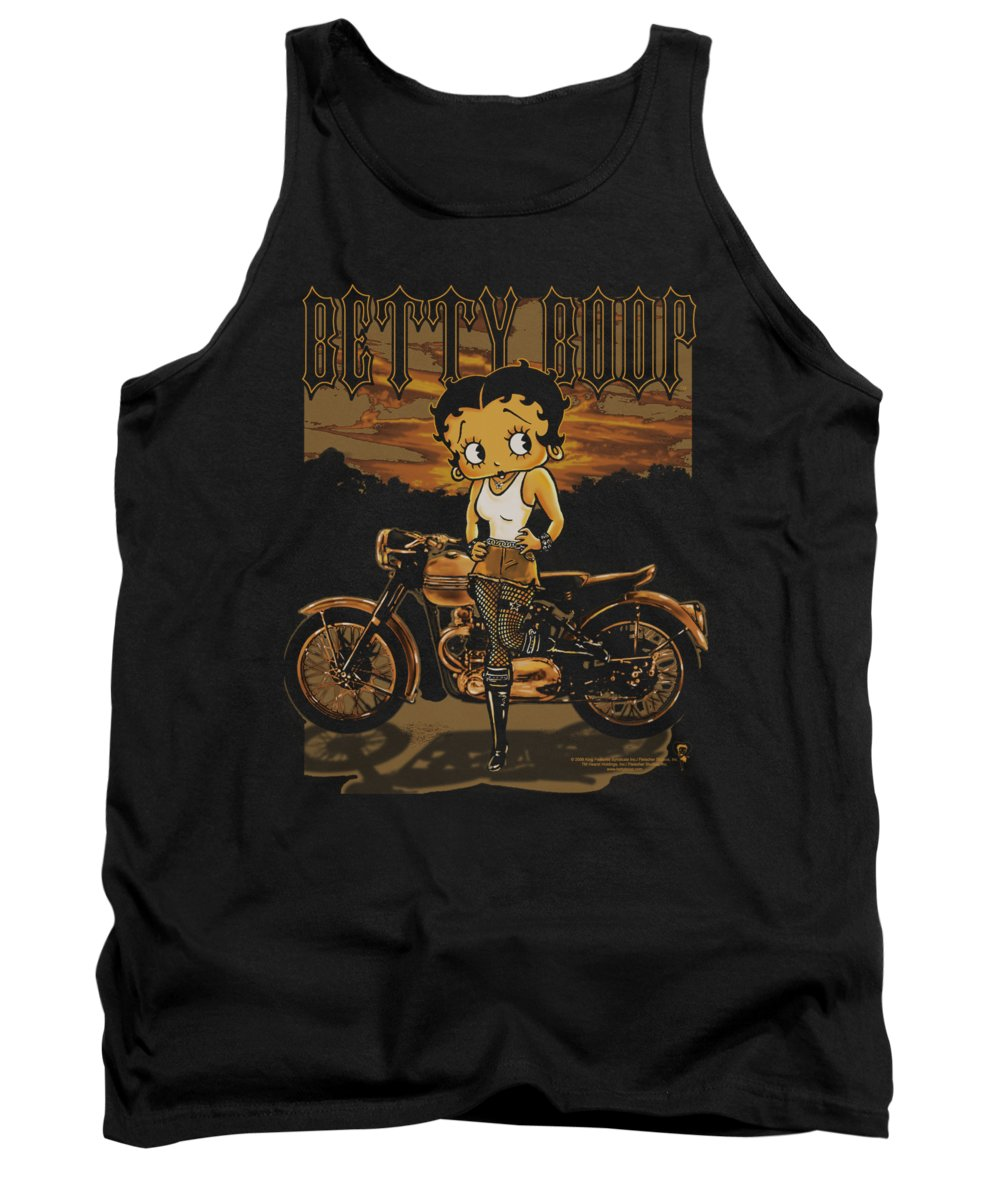 Betty Boop Tank Top featuring the digital art Boop - Rebel Rider by Brand A
