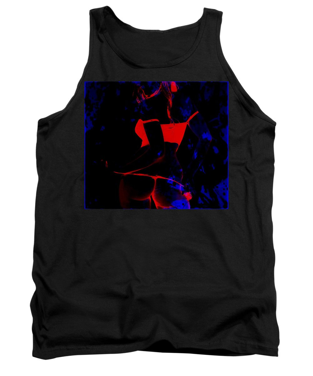 Sexy Tank Top featuring the mixed media Booty Glow by Brian Reaves