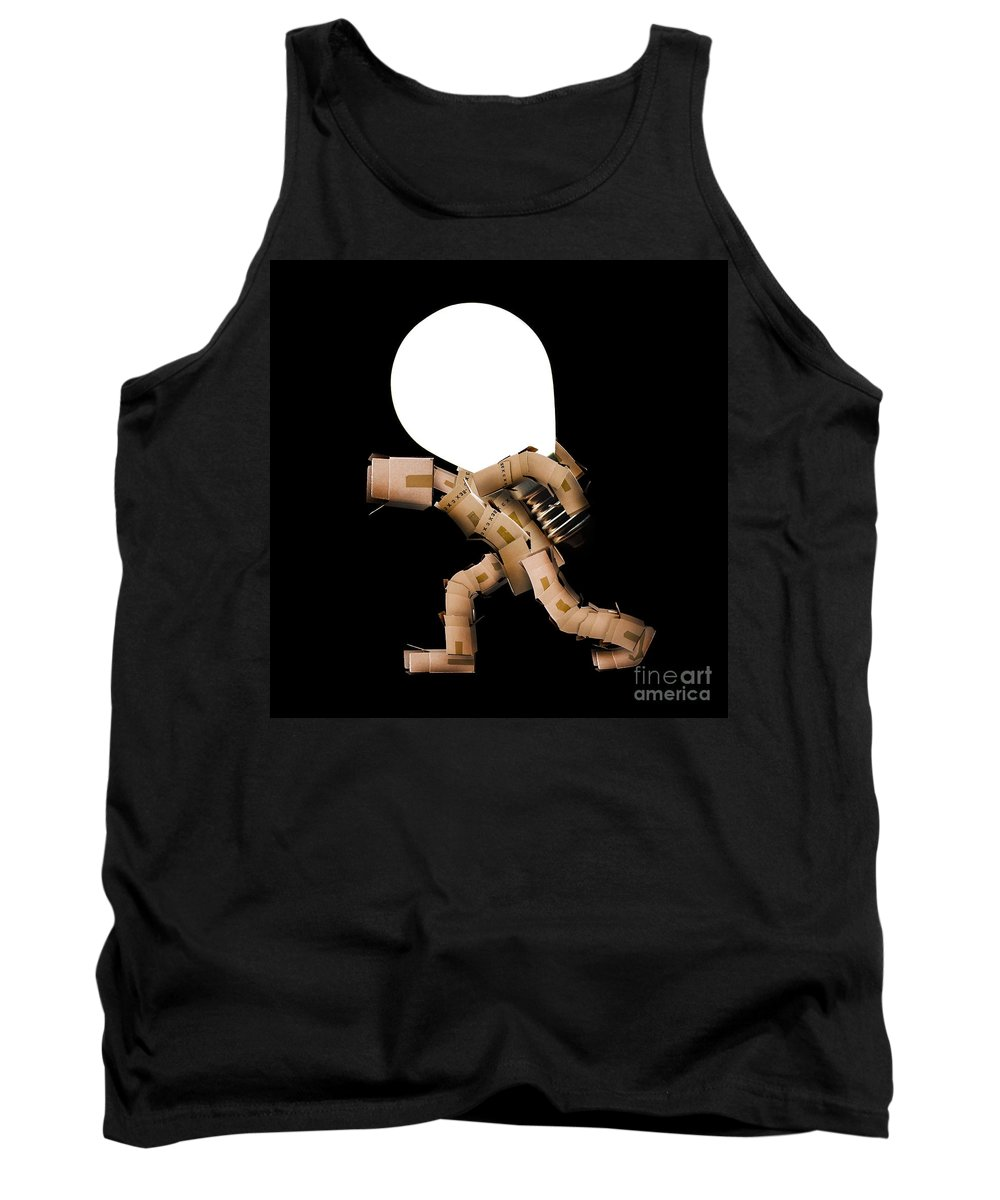 Power Tank Top featuring the photograph Box Character Carrying Light Bulb by Simon Bratt Photography LRPS