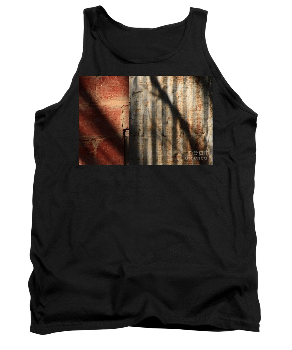 Abstract Tank Top featuring the photograph Brick And Metal by Ashley M Conger