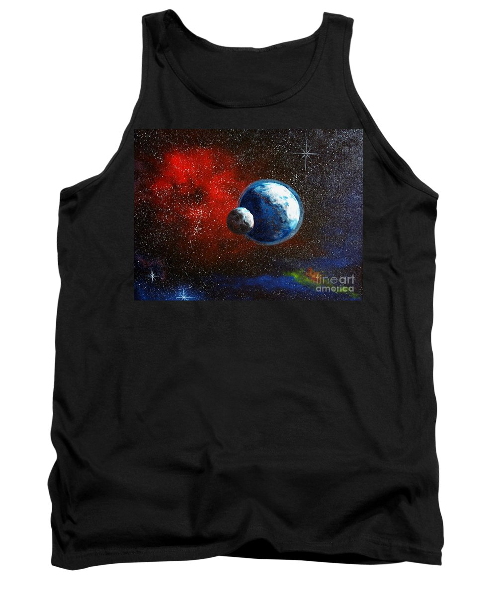 Astro Tank Top featuring the painting Broken Moon by Murphy Elliott