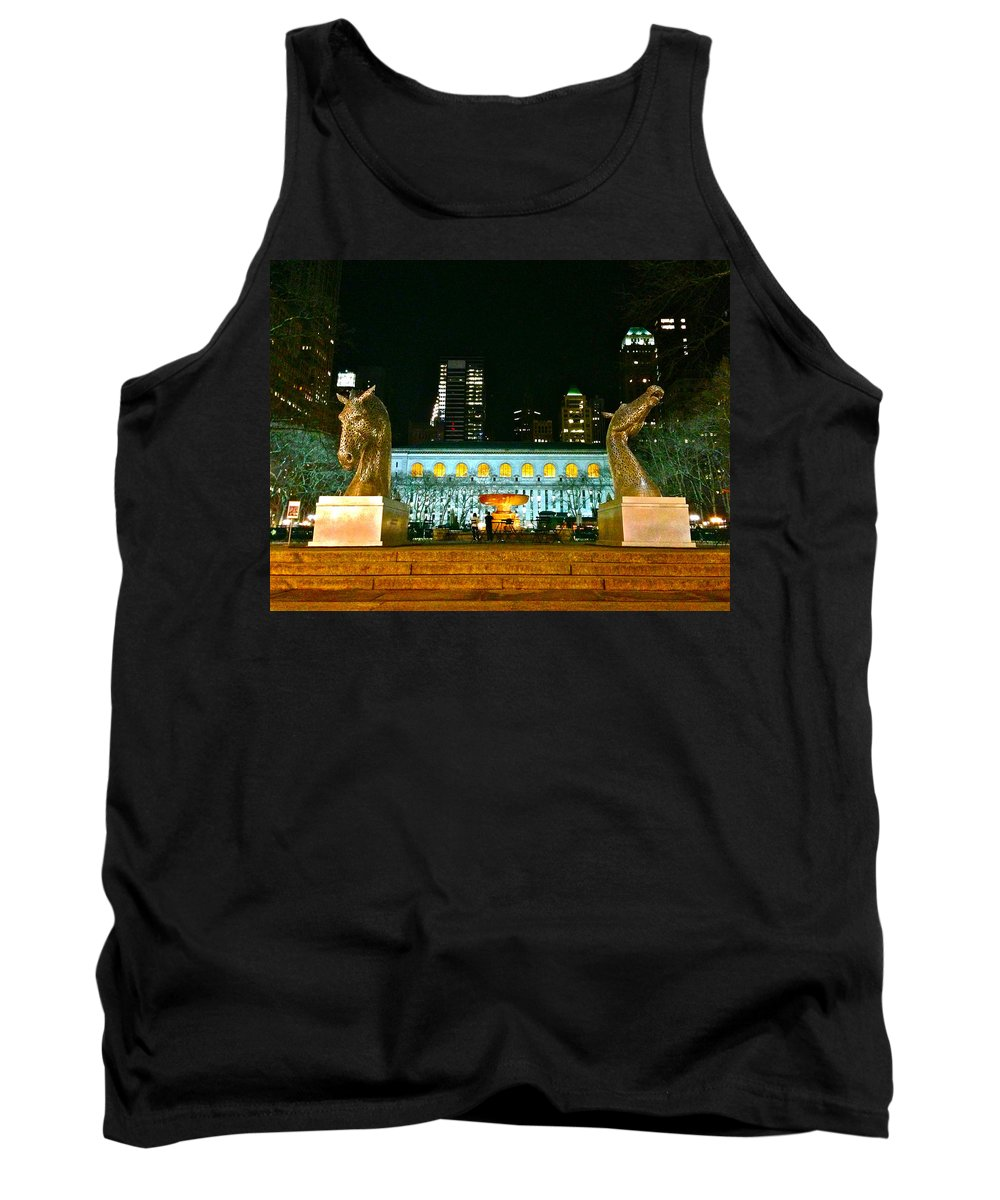 Bryant Park Tank Top featuring the photograph Bryant Park Horses by Lexi Heft