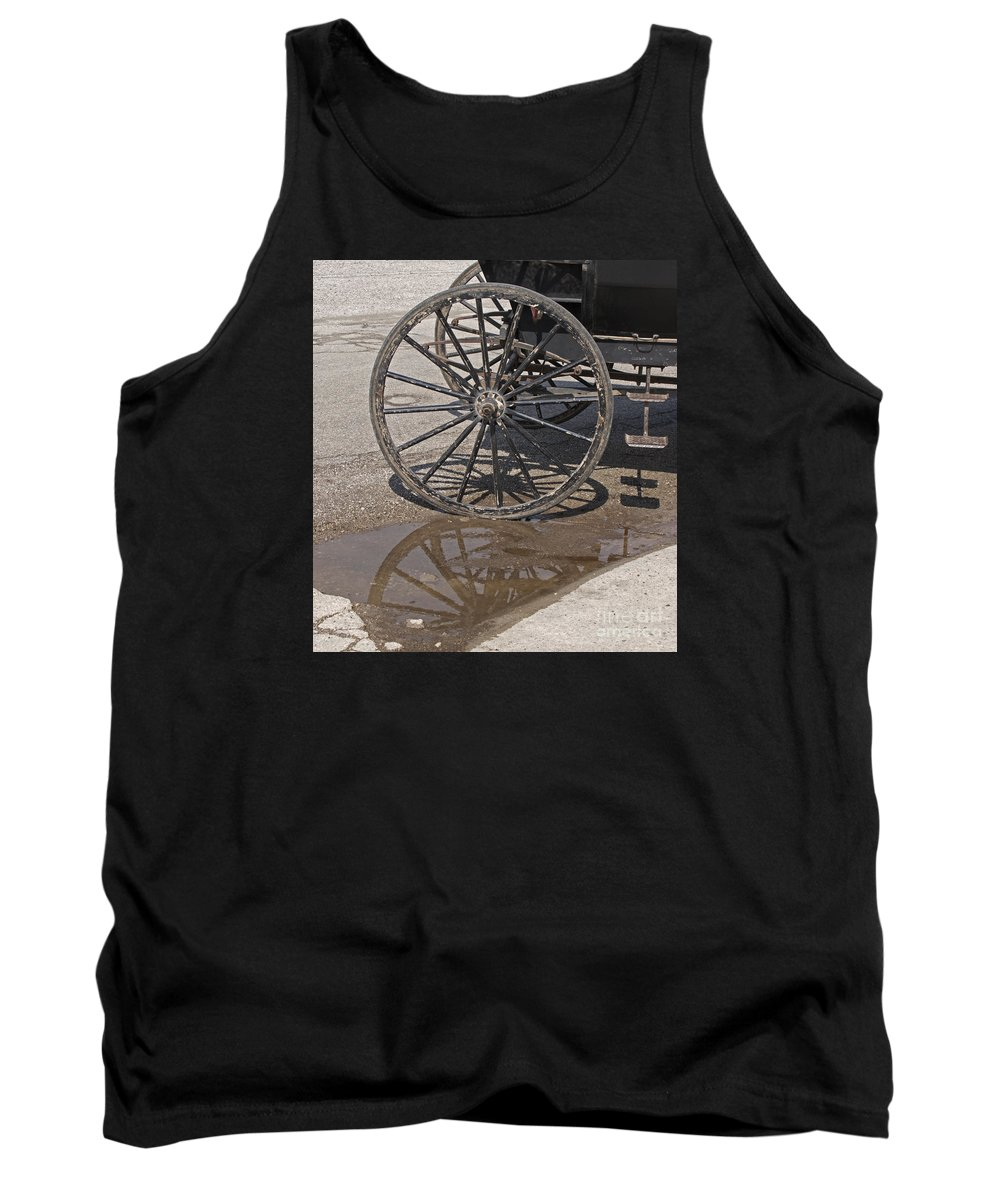 Amish Tank Top featuring the photograph Buggy Wheels by Ann Horn