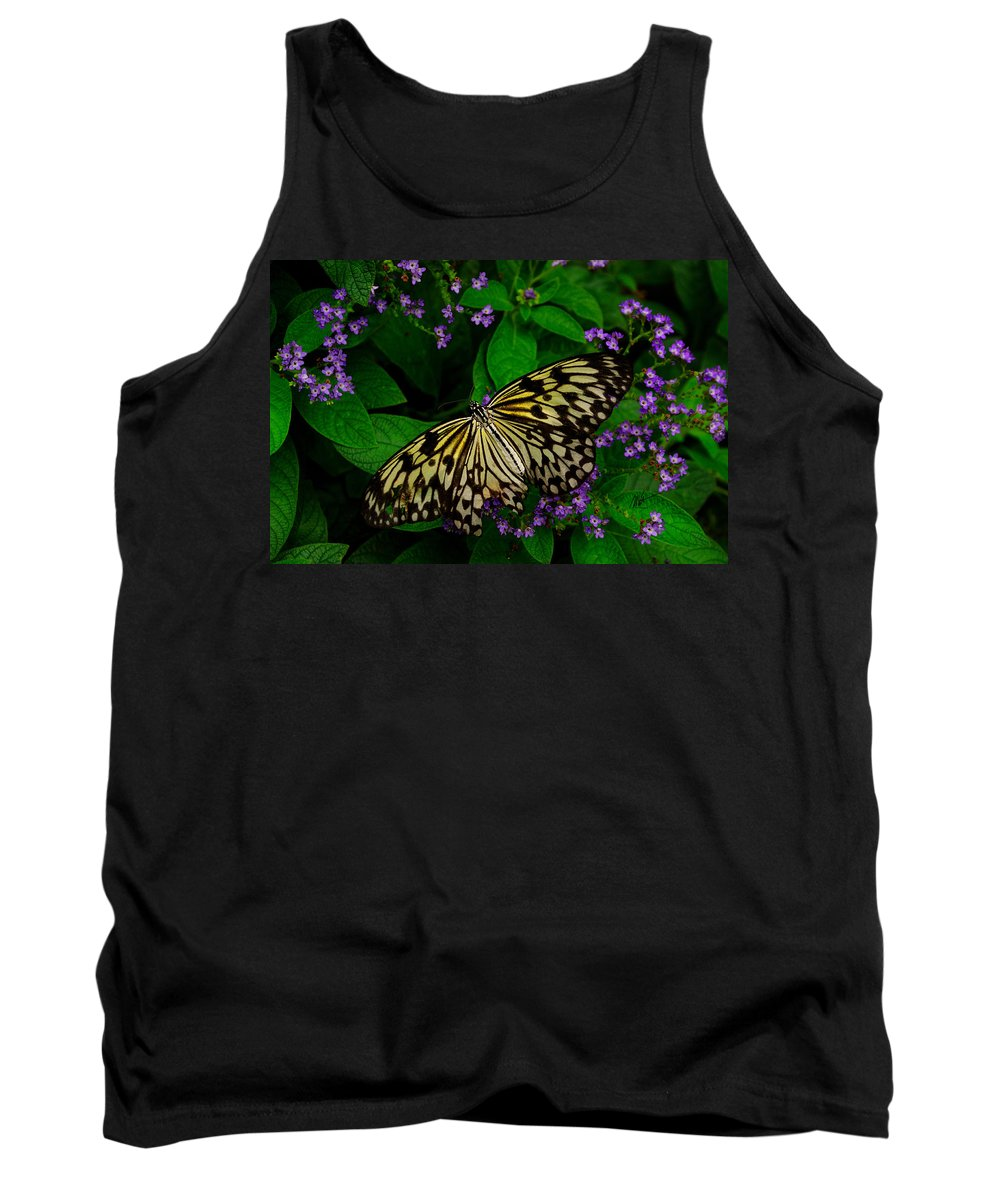 Butterfly Tank Top featuring the photograph Butterfly - Yellow Green Purple by Mark Valentine
