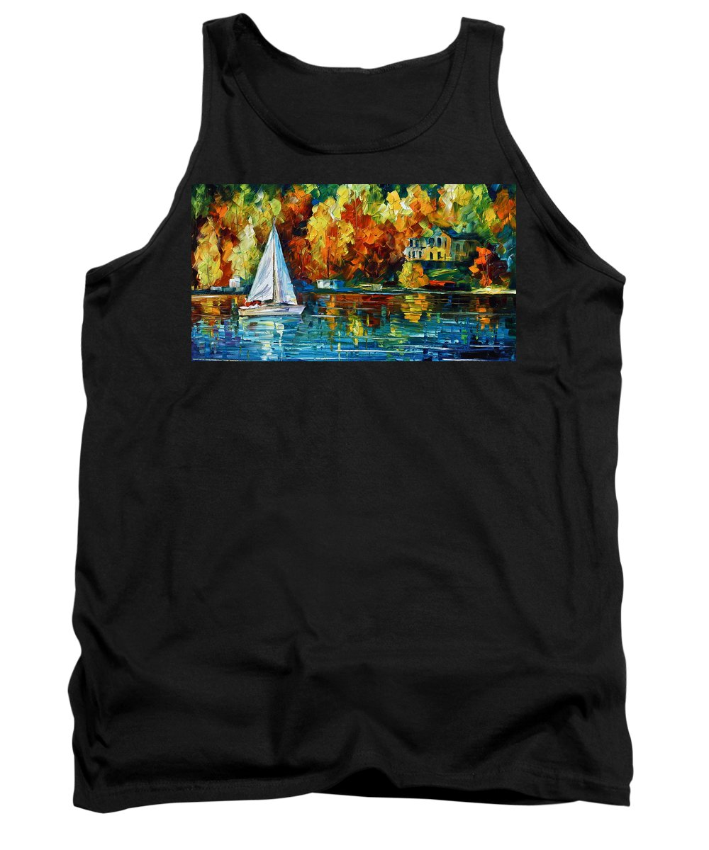 Boat Tank Top featuring the painting By The Rivershore by Leonid Afremov