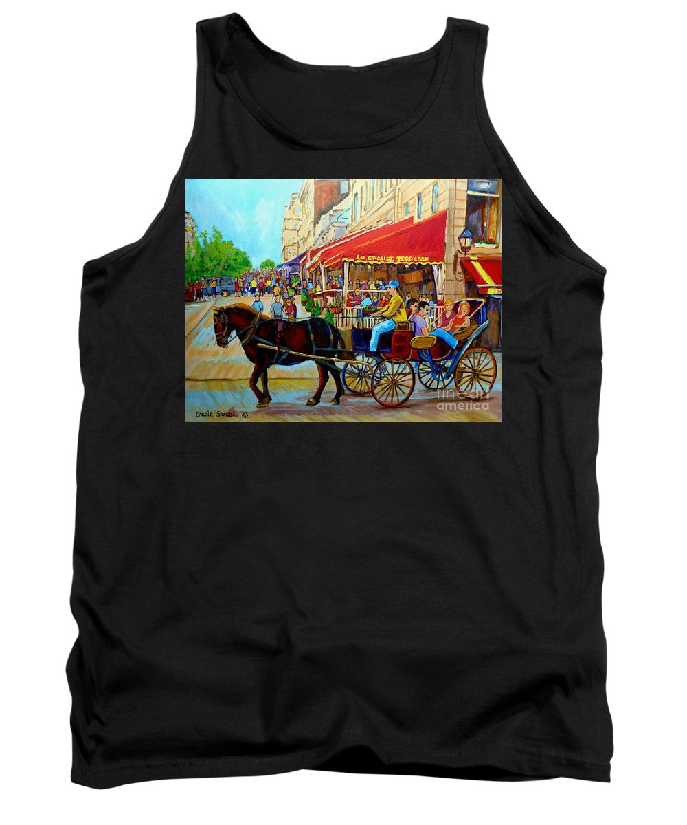 Cafe La Grande Terrasse Tank Top featuring the painting Cafe La Grande Terrasse by Carole Spandau
