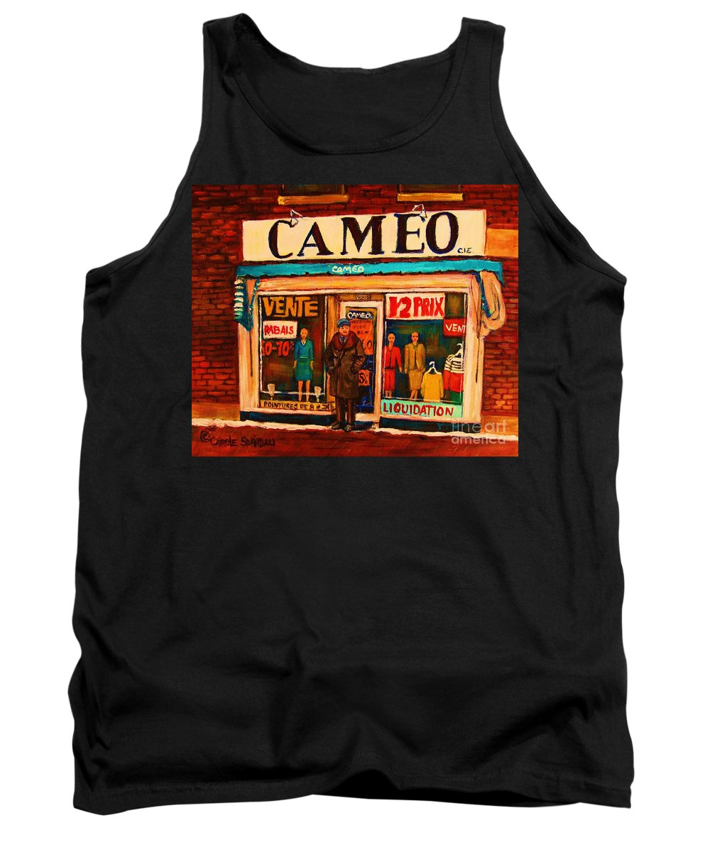 Cameo Dress Shop Tank Top featuring the painting Cameo Dress Shop by Carole Spandau
