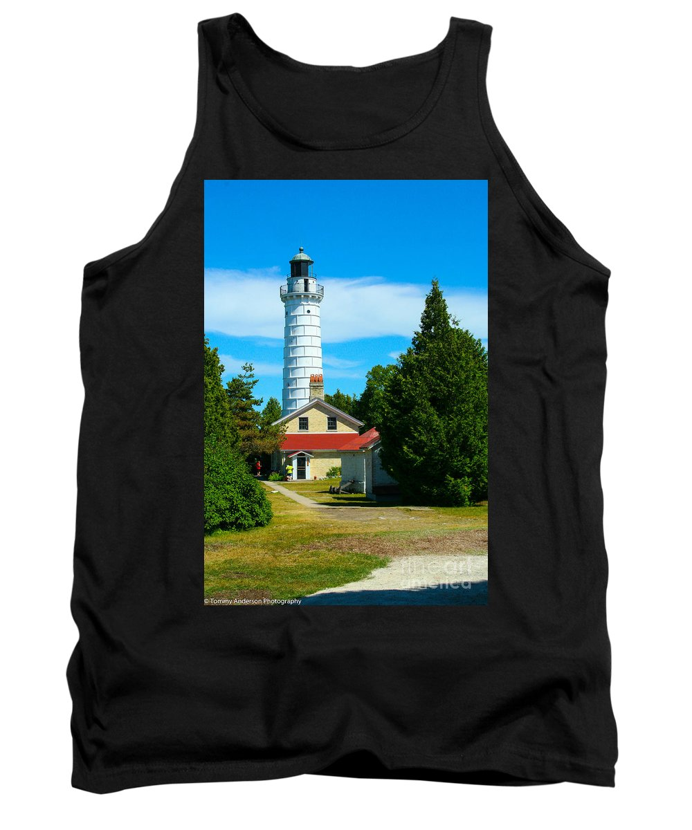 Cana Island Tank Top featuring the photograph Cana Island Wi Lighthouse by Tommy Anderson