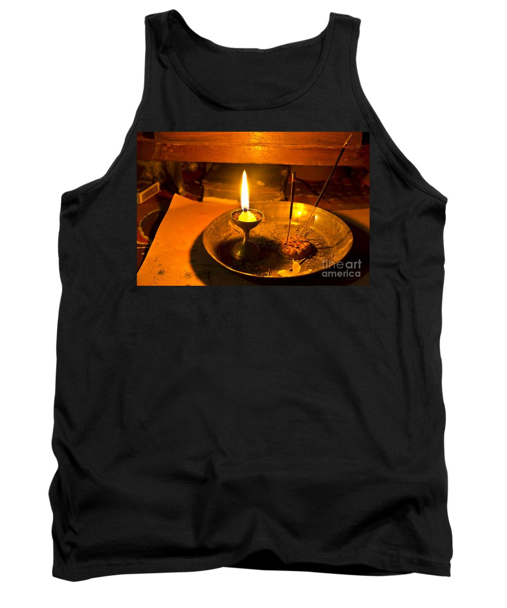 Abstract Tank Top featuring the photograph Candle And Incense Sticks by Image World