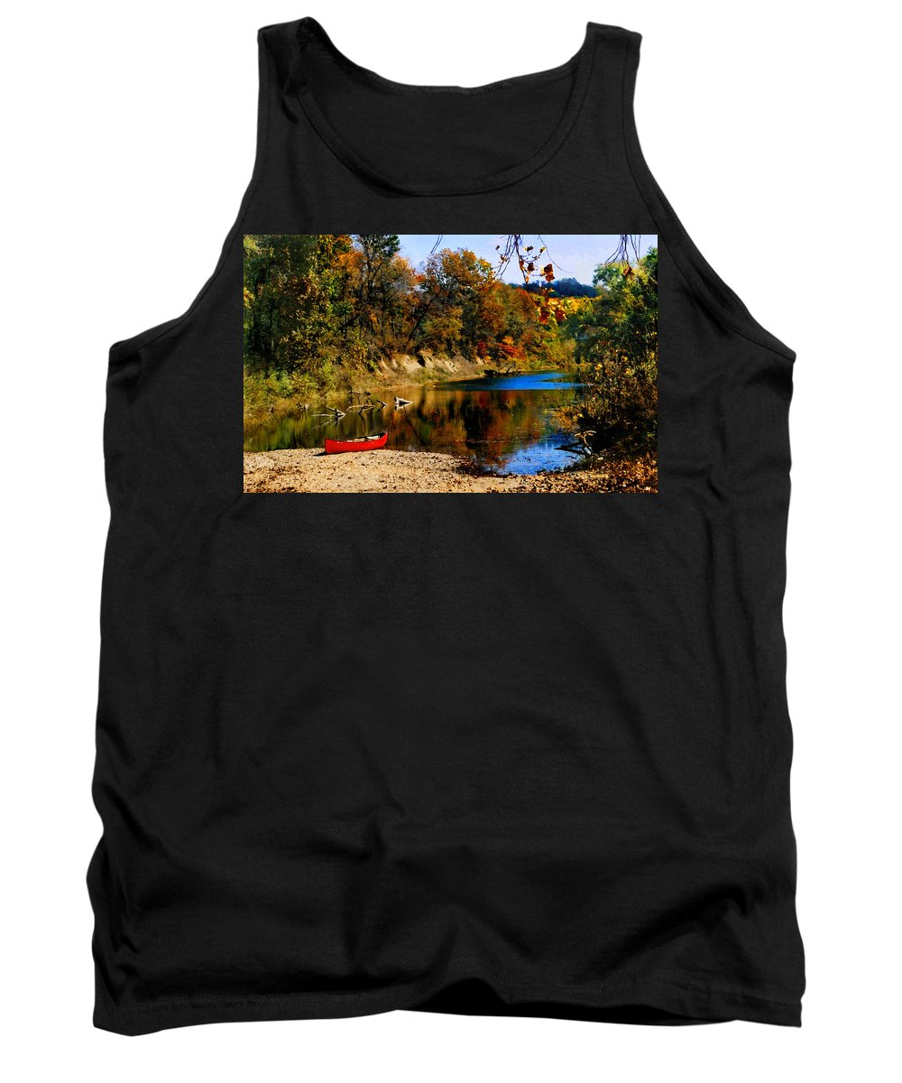 Autumn Tank Top featuring the photograph Canoe On The Gasconade River by Steve Karol