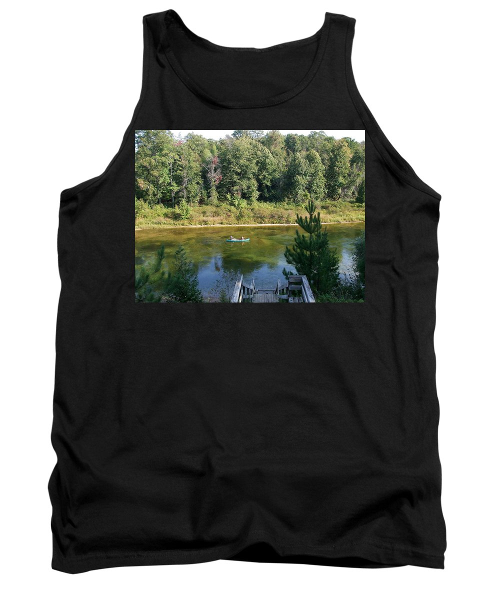 Canoe Tank Top featuring the photograph Canoeing Michigan's Au Sable by Susan Wyman