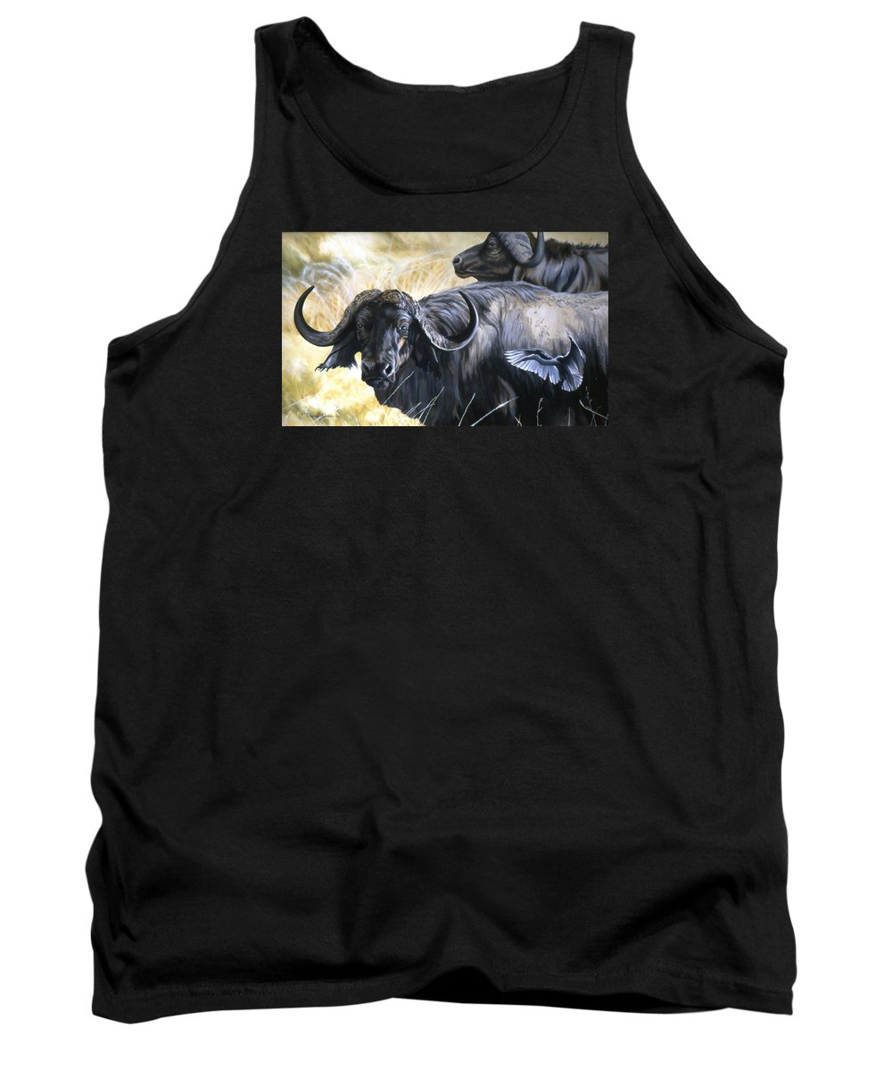 Africa Tank Top featuring the painting Da206 Cape Buffalo By Daniel Adams by Daniel Adams