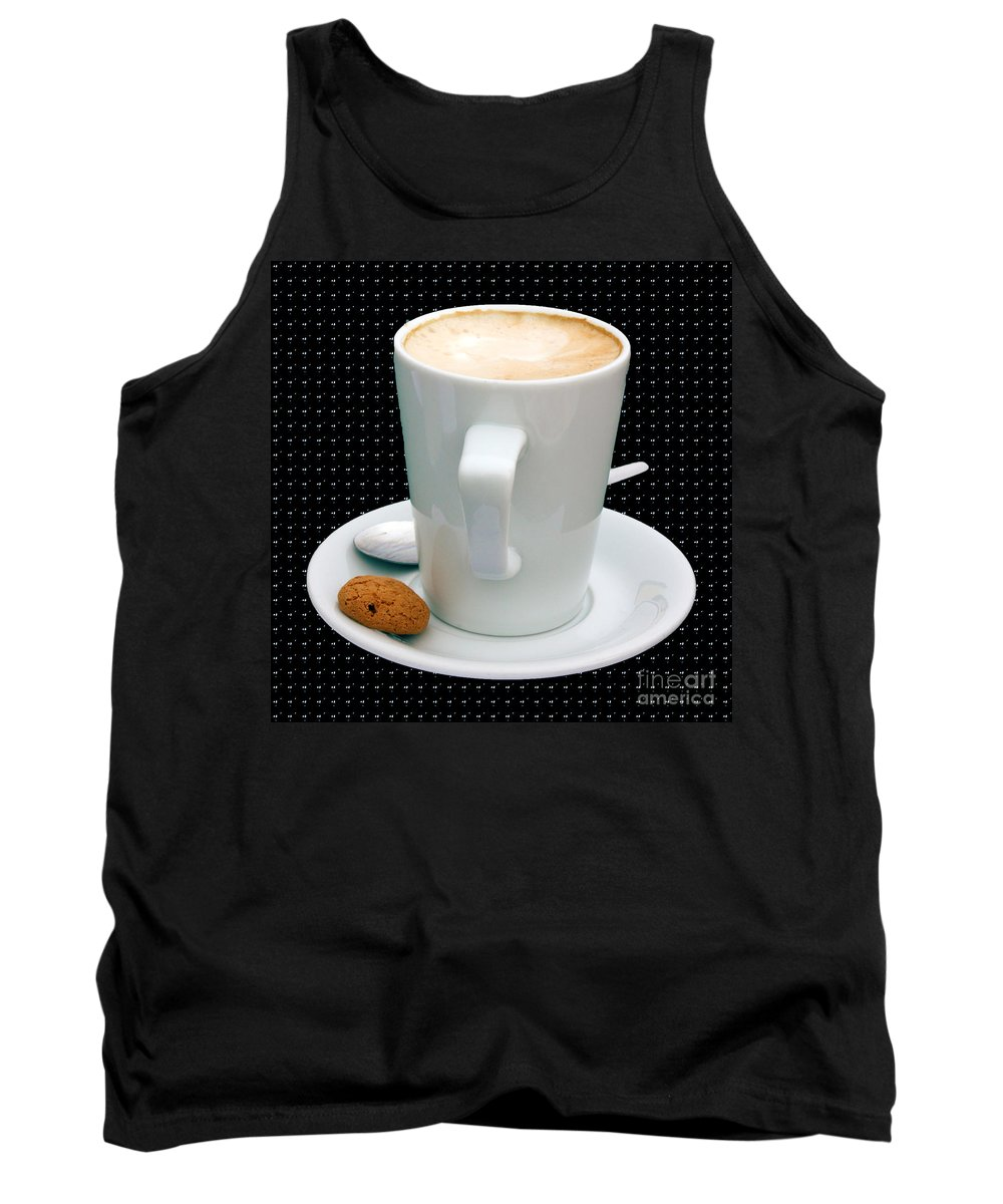 Cappucino Tank Top featuring the photograph Cappuccino With An Amaretti Biscuit by Terri Waters