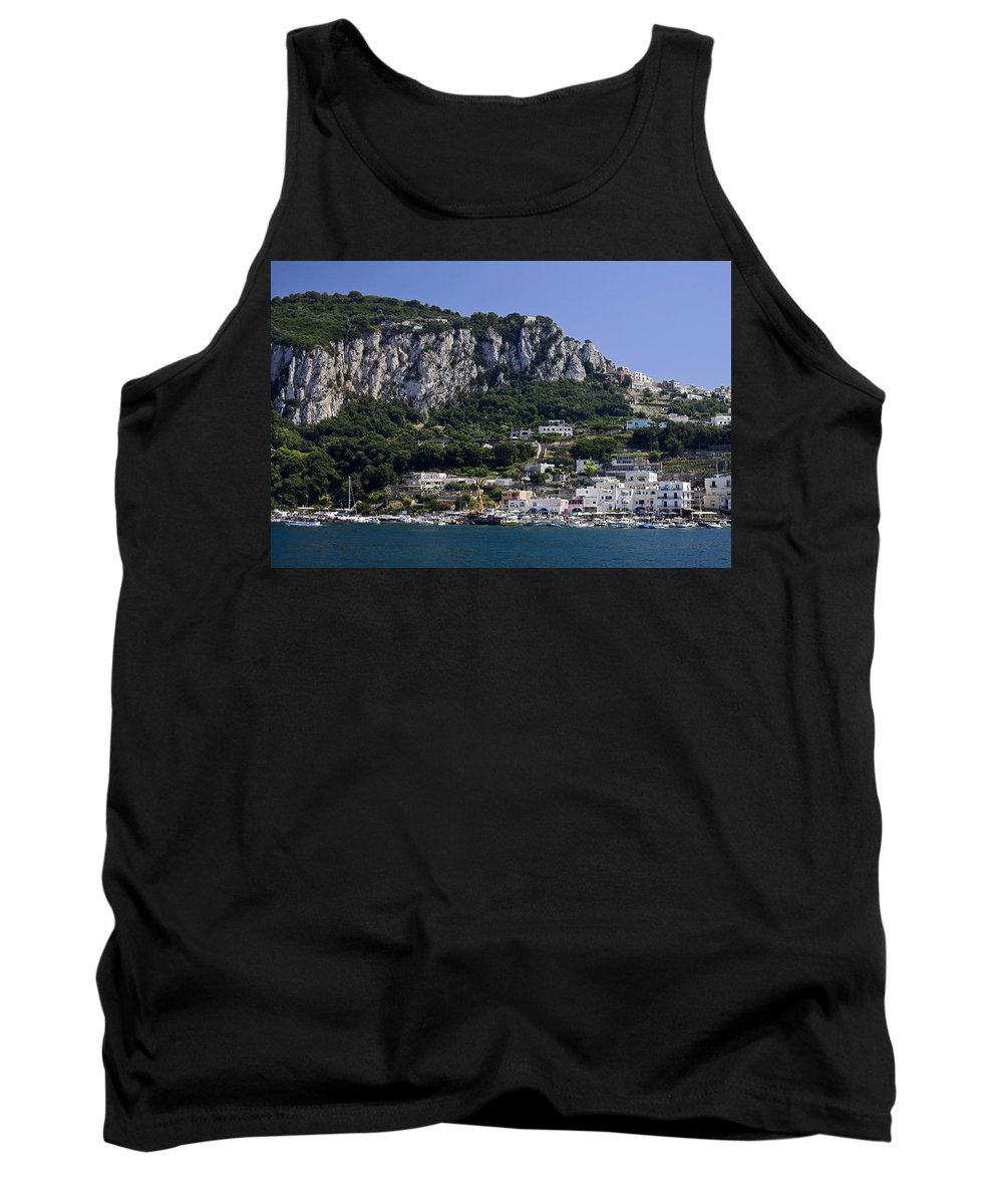Harbor Scene Tank Top featuring the photograph Capri Italy by Sally Weigand