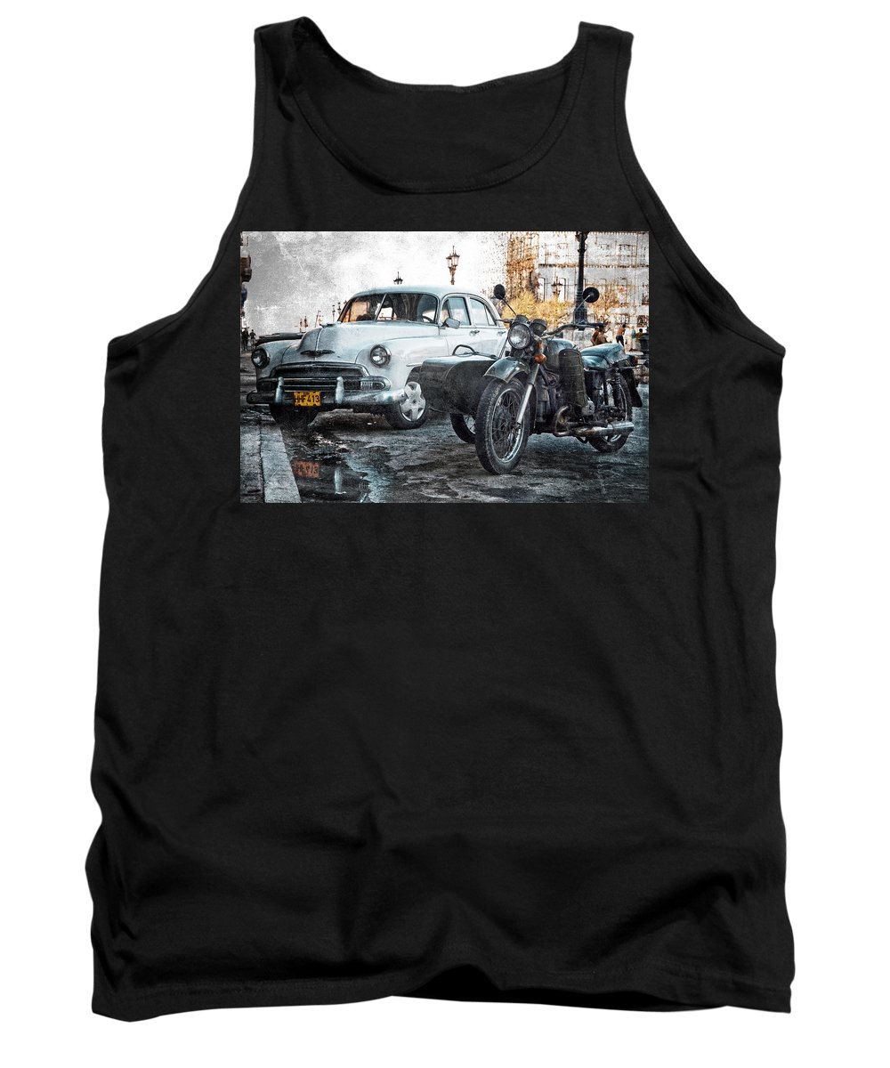Havana Tank Top featuring the photograph Car And Sidecar by Claude LeTien