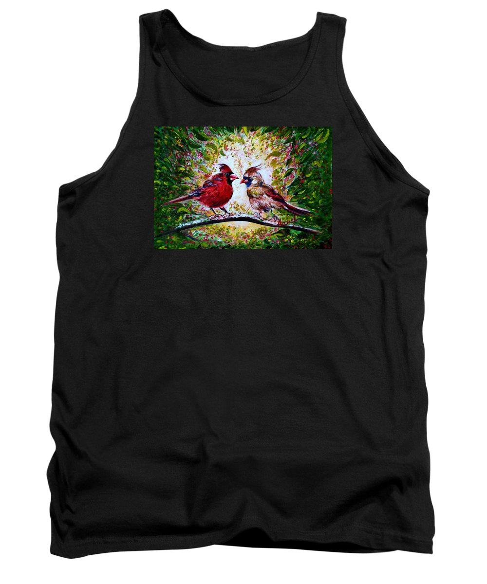 Cardinals Tank Top featuring the painting Cardinals Chat by Harsh Malik