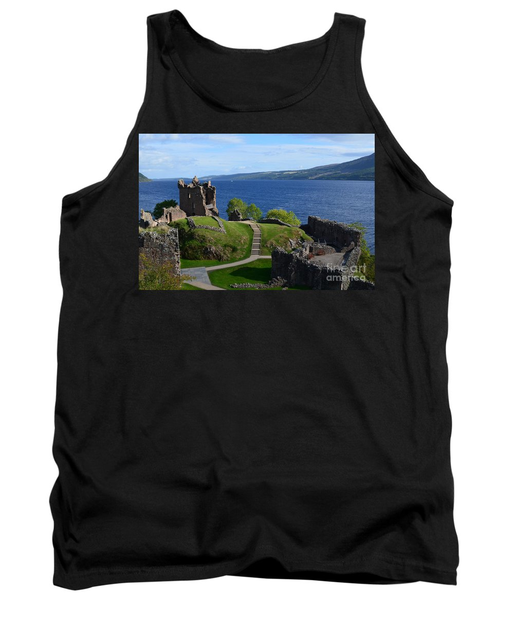 Urquhart Castle Tank Top featuring the photograph Castle Ruins On Loch Ness by DejaVu Designs
