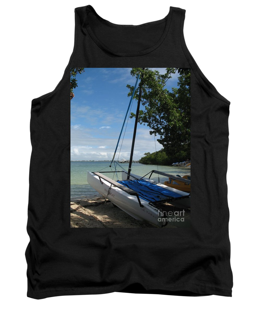 Beach Tank Top featuring the photograph Catamaran On The Beach by Christiane Schulze Art And Photography