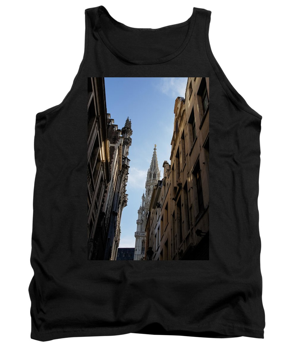 Grand Place Tank Top featuring the photograph Catching A Glimpse Of Grand Place Brussels Belgium by Georgia Mizuleva