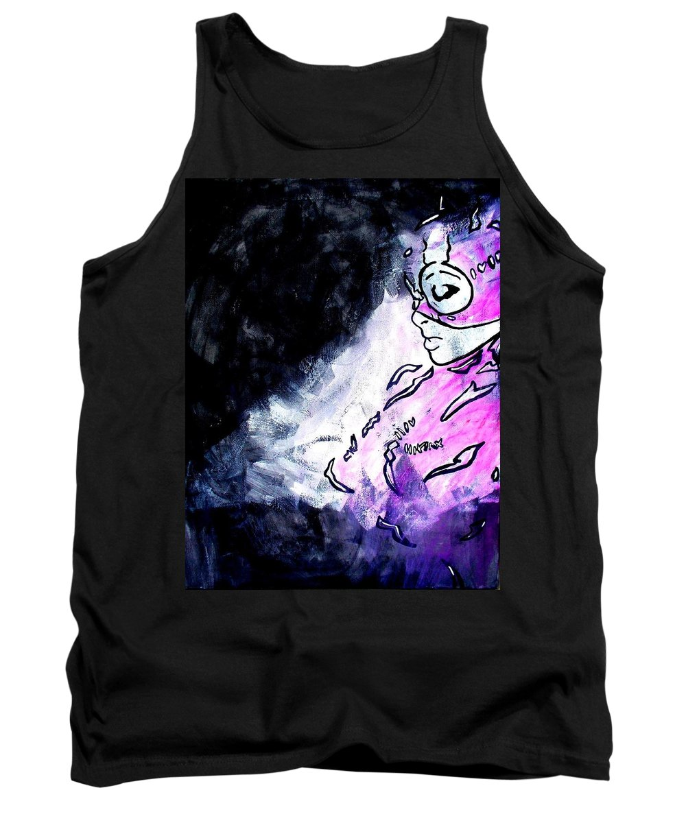 Catwoman Tank Top featuring the painting Catwoman Purple Suit by Marisela Mungia